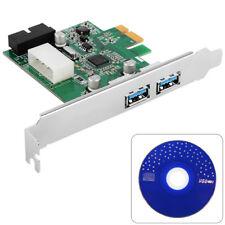 3 Port PCI-E PCI Express USB3.0 HUB PC Card Adapter 19pin Controller Neu AC319
