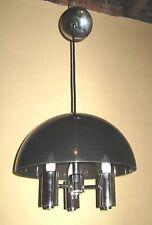 Vintage Modern Chrome Plastic Mushroom Shade Chandelier Hanging Light Lamp