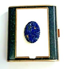 Vintage Art Deco Walter Lampl Vanity Compact & Cigarettes Case with Carved Lapis