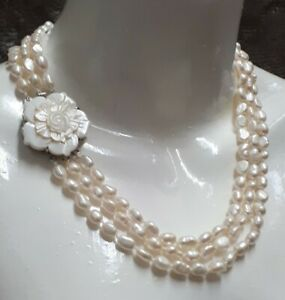 Genuine White Freshwater Pearl Triple Layered Necklace Wedding Bride Occasion