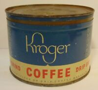 Old Vintage 1940s 1946 Kroger Coffee GRAPHIC COFFEE TIN ONE POUND COFFEE TIN CAN