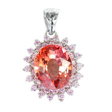 LUXURIOUS GEMS 4.55 CT PADPARADSCHA SAPPHIRE OVAL STERLING SILVER 925 PENDANT