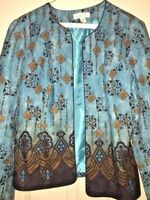 COLD WATER CREEK ELEGANT TURQUOISE Aqua BROWN BLAZER JACKET COAT WOMENS SZ 8