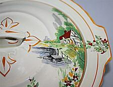 STUNNING UNUSUAL VINTAGE ART DECO PALISSY 1930's VEGETABLE SERVING DISH TUREEN
