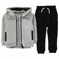 Kids Boys Firetrap 3 Piece Jogging Set Infant Fleece Tracksuit Long Sleeve New