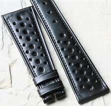 Vintage 24mm black leather vintage watch racing strap 1960s/70s New Old Stock