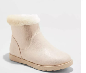 Cat & Jack Girls' Georgeina Shearling Style Rose Gold Ankle Boots - Youth Size 5