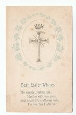 3 x Easter Wishes And Blessings Old Greetings Postcards 1911 1918 Real Photo