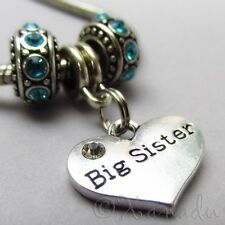Big Sister European Charm Pendant And Birthstone Beads For Large Hole Bracelets