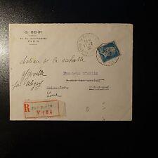 PASTEUR NR.181 BRIEF EMPFOHLEN ABSTEMPELUNG PARIS IX R. HIPPOLYTE LEBAS