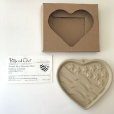 Pampered Chef Patriotic Heart Stoneware Cookie Mold Retired Flag 2005 Recipe Box