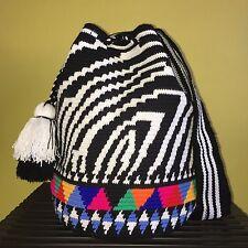 New Luxury Edition Zebra Handmade Colombian Wayuu Mochila Shoulder Crossbody Bag