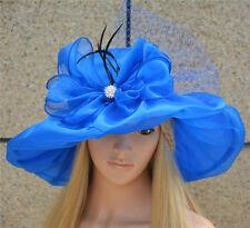 Womens Kentucky Derby Wide Brim Sun Dress Church Wedding Hat A342 Blue