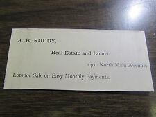 A.B. RUDDY - REAL ESTATE AND LOANS  1890 / 1900'S - SCRANTON PA CALLING CARD