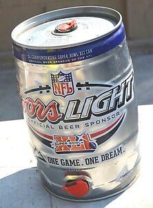 Coors Light Empty Mini Keg 5 Liter Commemorative Super Bowl Can-NFL Football