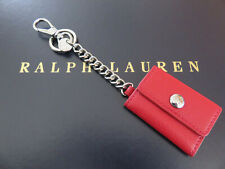 RALPH LAUREN Red Leather Picture Key Chain FOB