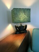 Mid Century Vintage Style Fiberglass Lamp Shade Modern Rectangular Alpine Green