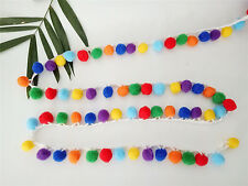 4 yards Ball Pom Pom Bobble Trim Braid Fringe Ribbon Edging Craft Decoration