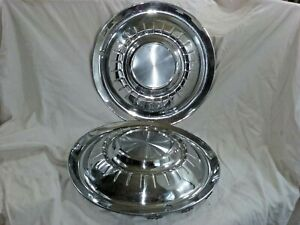 """1955 Plymouth Hub Caps 15"""" Stainless Set Of 2      -H143"""