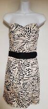 H&M Womens 8 Strapless Corset Top Cheetah Print Dress Sexy Club Back Zip