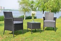 3 Pcs Rattan Sofa Patio Furniture Garden Wicker Chair Bistro Set Cushioned Seat