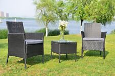 3 Pcs Rattan Sofa Patio Furniture Garden Wicker Chair Bistro Set Cushioned Seat