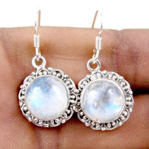925 Sterling Silver Earrings Rainbow Moonstone Handmade Jewelry ES-1026
