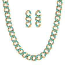 "Mint Green Enamel Gold Tone Chain 16"" Necklace & Dangle Stud Post Earrings Set"