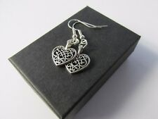 Handmade Pretty Tibetan Silvertone Decorative Heart Pendant Earrings - Boxed *