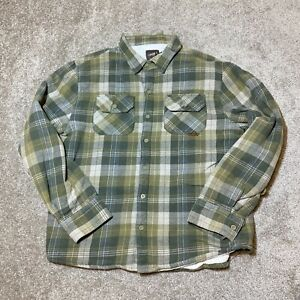 O'Neill Flannel Shirt Jacket Large L Men's Sherpa Plaid Button Down Long Sleeve