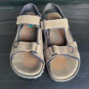Omega Mens Adjustable Sports Strap Brown Leather Upper Outdoor Sandals Size 8
