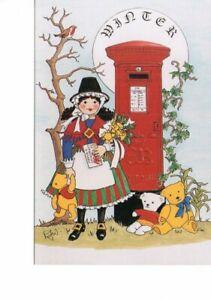 postcard: LITTLE WELSH GIRL ROBIN FLOWERS TEDDY BEARS POST BOX  Rosalind Wicks