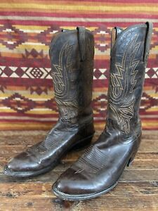 VTG 1883 Lucchese Buttery Soft Leather Brown Western Cowboy Boots 9.5 D Men