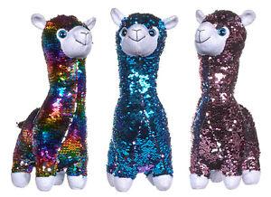 Sequin Llama Plush Reversible Soft Toy Animal Rainbow Blue Red Silver 33 cm new