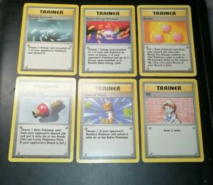 POKEMON BASE SET TRAINER CARDS LOT OF 6. EXC-NEAR-MINT.