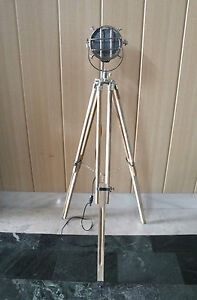NAUTICAL CHROME INDUSTRIAL FLOOR LAMP WITH WOOD TRIPOD SEARLIGHT VINTAGE STYLE.