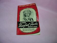 Vintage 1941 Booklet 2000 Useful Facts About Food Culinary Arts Institute