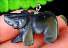 26x15x10mm Black Cat Eye Gemstone Carved Bear Pendant Bead Bt76673