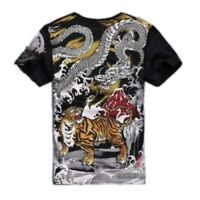 Mens Japanese Tiger Embroidered Tattoo T shirts Pullover Crew Neck Loose Suumer