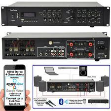 800W Stereo Bluetooth Amplifier | 4x 200W Channel Multi Zone HiFi Matrix Mixer