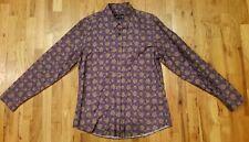 Gucci Mens DressShirt Silk Cotton Blend Slim Size 44/17.5 Purple Paisley Gold