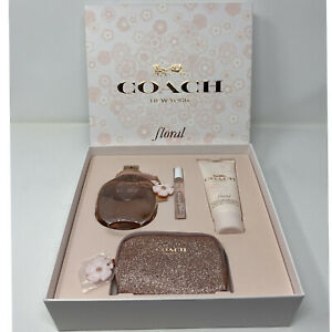 COACH FLORAL WOMEN PERFUME GIFT SET Parfum Spray 3.3 oz + Lotion  + Mini & Pouch