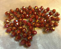 "VINTAGE Long 41"" Rainbow Glass Faceted Red Aurora Borealis Necklace #3"