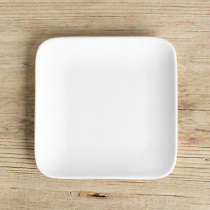 off White Square Porcelain Tea Bag Tidy Holder Teabag Spoon Rest Dish Plate