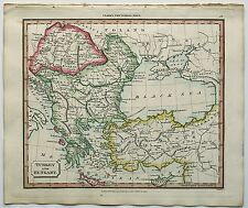 c1830 Turkey Hungary Macedonia Genuine Hand Coloured Map Published By J. Souter