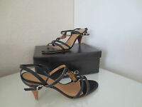 VIA UNO Damen Sandaletten Gr.38 Leder Schwarz Heels Sandalen Schuhe Pumps NEU