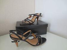 VIA UNO Damen Sandaletten Gr.37 Leder Schwarz Heels Sandalen Schuhe Pumps NEU