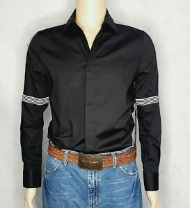 Karl Lagerfeld Black Tape Striped Fitted Shirt New With Tags Size Small RRP $175