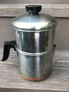 Vintage Revere Ware 1801 4 Cup Drip-O-Lator Stainless Copper-Clad Coffee Pot