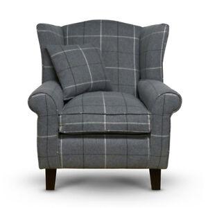 High Wing Back Armchair Tartan Fabric Chair Fireside Seat Living Room Lounge UK